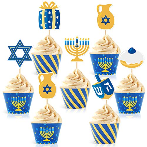48Pcs Hanukkah Cupcake Toppers and Wrappers for Hanukkah Party Decorations Chanukkah Theme Party Supplies