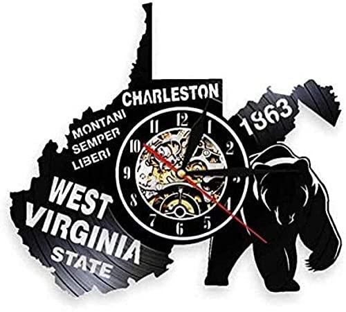 BBZZL Reloj de Pared de Vinilo Navidad West Virginia Great Seal Reloj de Pared Mapa del Estado de EE. UU. Libery Reloj de Pared con Registro de Vinilo 30 cm