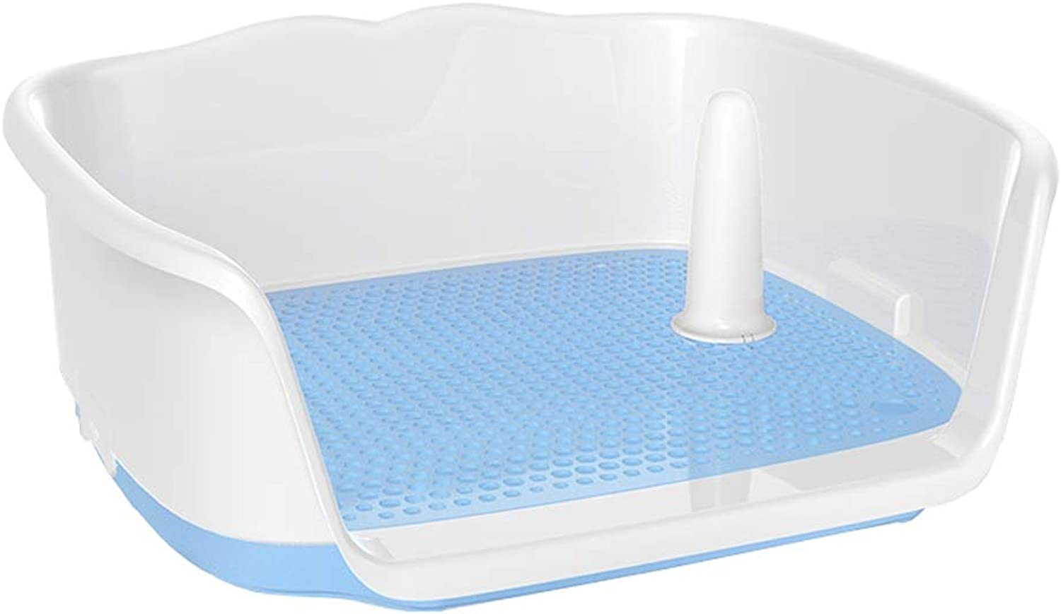 Ryan Dog Toilet, Indoor Training Flatbed Dog Potty Urinal Loo With Fence Pet Supplies For Small And Medium Dogs Toilet (color   bluee, Size   S)