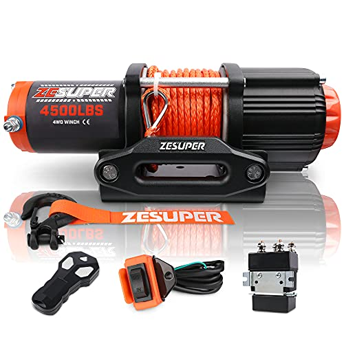 ZESUPER 4500-lb Electric Winch Waterproof Winch Kit IP67 Synthetic Rope with Hawse Fairlead, with Both Wireless Handheld Remote