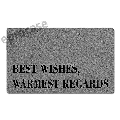 Eprocase Doormat Rubber Backing Door Mat Outdoor/Indoor Non-Slip Entrance Door Mat Home Decor Mat Floor Mats Gate Pad, 30 x 18 Inches, Best Wishes Warmest Regards