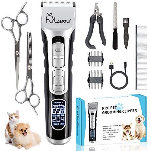 Furlamour Leise Tierhaarschneider Haarschneidemaschine Haustier Clippers Wiederaufladbarer Tierhaarschneider Wiederaufladbarer Elektrischer Tierhaarschneider