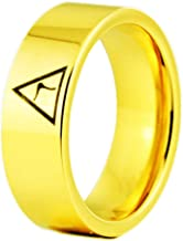 Cloud Dancer 8mm Width Black Pipe 14th Degree Scottish Rite Masonic Rings,Tungsten Carbide Rings,Four Colors -Free Engraving Inside