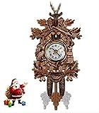 Reloj Pared Decorativo Para El Hogar Del Pájaro,Reloj Péndulo Colgante Para Sala Estar Cuco Madera Colgante,Arte Artesanal Para La Nueva Casa Vintage,Decoración Navideña,9.09 * 4.65 * 1.97 P