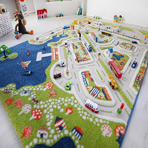 """IVI Mini City Thick 3D Kids Play Mat Rug, 71"""" L x 53"""" W, Non-Toxic, Stain Resistant, Educational Montessori Activity Toys for Kids"""