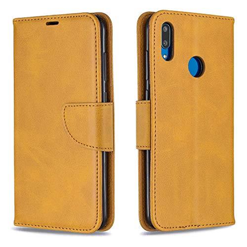GIMTON Hülle für Huawei Y7 2019 / Huawei Y7 Prime 2019, Kratzfestes PU Leder mit Magnetisch Verschluss und Kartenfach für Huawei Y7 2019 / Y7 Prime 2019, Hochwertige Brieftasche Tasche, Gelb