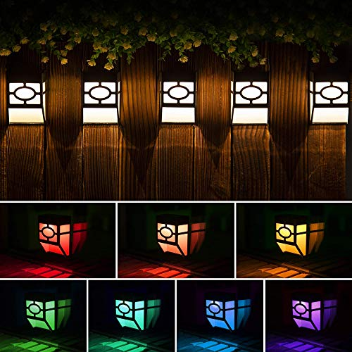 Solpex Solar LED Lights, RGB & White 8-Pack, 2 Modes, Outdoor Décor, Unique Pattern, Waterproof Automatic Outside, Deck, Patio, Stairs, Yard, Steps, Path & Driveway (Warm White & Color Changing).