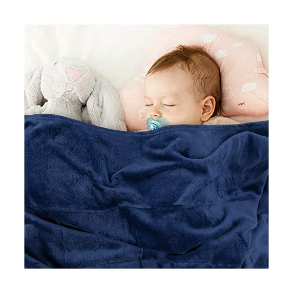 EMME Fleece Baby Blanket Plush Fuzzy Receiving Blankets for Toddler, Infant, Newborn, Boys and Girls Gift Warm Cozy Daycare Nursery Blanket for Crib, Stroller, Nap, Outdoor, Decor (Navy, 30″x40″)