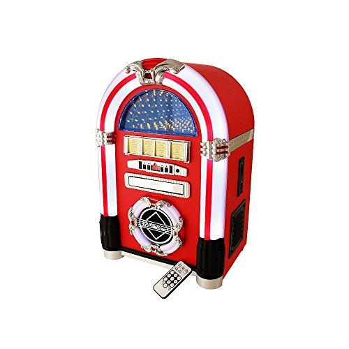 Jukebox en vinilo rojo con mando a distancia, radio, CD, y MP3 7001.70037