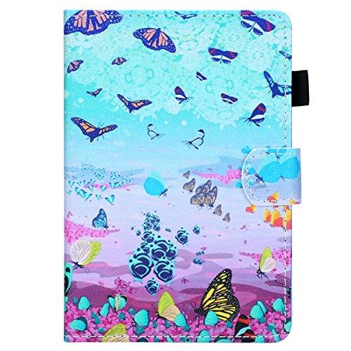 Ekakashop Colorato Design Portafoglio Tasca Book Folding Case Cover in PU Pelle Borsa Portatile Cover Antiurto Chiusura Cover Compatibile con Amazon Kindle Paperwhite 1 2 3, Farfalla Colorato