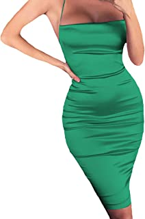 Multifit Women High Waist Stretch Knee Length Back Slit Summer Bodycon Pencil Skirt