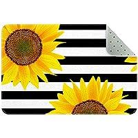 エリアラグ軽量 縁取られた黒と白の花 フロアマットソフトカーペットチホームリビングダイニングルームベッドルーム