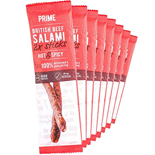 Prime Beef Salami Sticks - Lean, High Protein, Paleo & Keto Friendly - Made with British Grass Fed Beef… (Hot & Spicy)