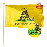 TOAUOT Gadsden Don't Tread on Me Flag 3x5 ft - Embroidered Heavy Duty 300D Nylon - Double Sewn Made in USA for Outdoor Use United States Flags Home Decorations
