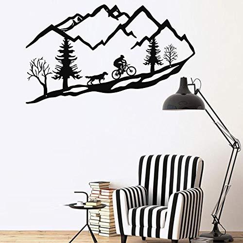 Tamengi Metal Wall Art Mountain Bike Trees, Mountain Biker and Dog Metal Wall Decor Home Decoration Living Room Decor Housewarming Gift