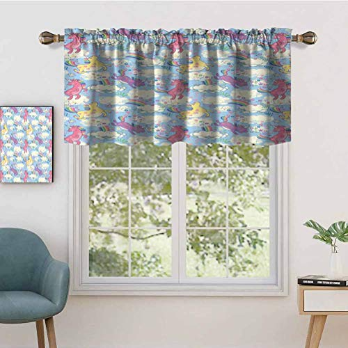 Hiiiman Thermal Insulated Curtains Valance Cute Unicorns on The Sky with Rainbows Pouring, Set of 1, 54'x18' for Bedroom with Rod Pocket