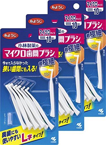 マイクロ歯間ブラシL字型 超極細タイプ SSSS 10本×3個