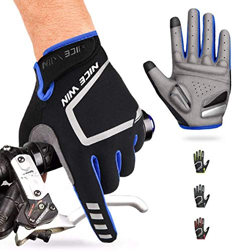 NICEWIN Cycling Gloves Motorcycle Bike Mountain- Road Bicycle Men Women Padded Antiskid Touch Screen Blue M
