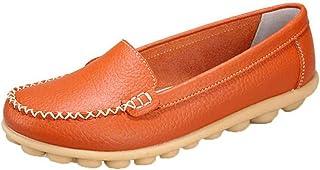 Dames mocassins schoenen antislip eenvoudige effen kleur lage lederen schoenen comfortabele platte lichtgewicht lederen dr...