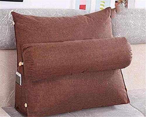 Rückenkissen Lesekissen Dreieck Keilkissen Taschen Taille Mit hat Taschen an der Seite Kissen Abnehmbarer waschbarer Bezug (Kaffee,60 * 50 * 20cm)