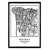 Blatt Beirut Stadtplan nordischen Stil schwarz und weiß.