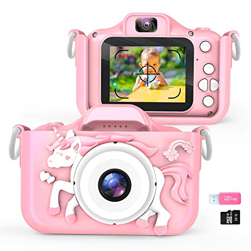 Waayu Upgrade Kids Selfie Camera,1080P HD Digital Video Cameras for Toddler, Best Birthday Gifts for Girls Age 3-8, Portable Toy for 3 4 5 6 7 8 Year Old Girls Boys with 32GB SD Card -Pink