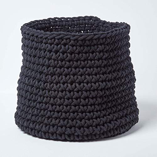 HOMESCAPES Grand Panier de Rangement Rond tressé en Tricot Noir 100% Coton - 42 x 37 cm