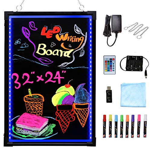 """Voilamart LED Message Writing Board, 32"""" x 24"""" Flashing Illuminated Erasable LED Message Chalkboard Neon Effect Menu Sign Board with Remote Control, 8 Colors Chalk Markers"""