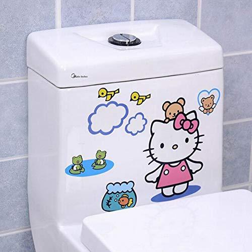 YSHUO Muurstickers Leuke Hello Kitty Beer Kip Toilet Sticker Badkamer Home Decoratie Muurstickers