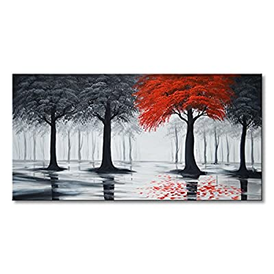 EVERFUN ART Handmade Oil Painting On Canvas Modern Forest Wall Art Abstract Landscape Artwork from Everfun Painting