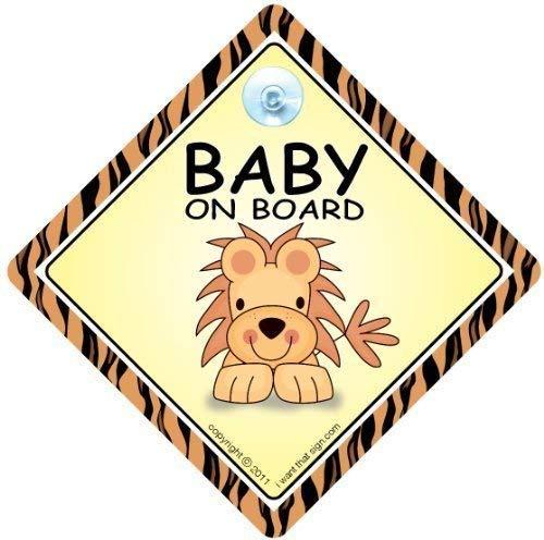 Baby On Board, petit-enfant à bord, panneau pour voiture,, Lion, Coque, panneau bébéà bord, autocollant, autocollant, autocollant pour voiture, panneau bébé