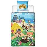 Character World Ropa de cama Animal Crossing 135 x 200 + 80 x 80 tamaño alemán · Nintendo New Horizons · 100% algodón · 2 piezas adolescentes ropa de cama infantil