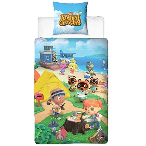 Character World Bettwäsche Animal Crossing 135x200 + 80x80 deutsche Größe · Nintendo New Horizons · 100% Baumwolle · 2 teilig Teenager Kinder-Bettwäsche