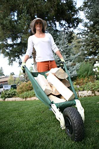 Allsop Home and Garden WheelEasy LE, Folding Yard Cart/Ground Load Wheelbarrow, Lightweight with 150 lbs Capacity, Ultra-Thick Vinyl-Coated Nylon, Large 10