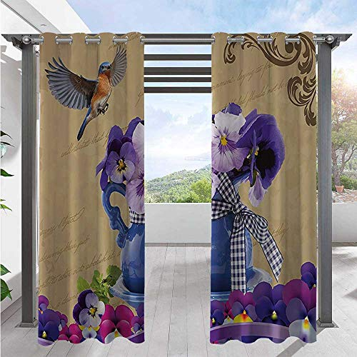 Adorise Outdoor Door Curtain Small Bluebirds Hummingbirds Pansy Flowers with Blue Vase on a Vintage Letter Waterproof Patio Curtains Sun Light Blocking Waterproof Purple Beige W108 x L96 Inch