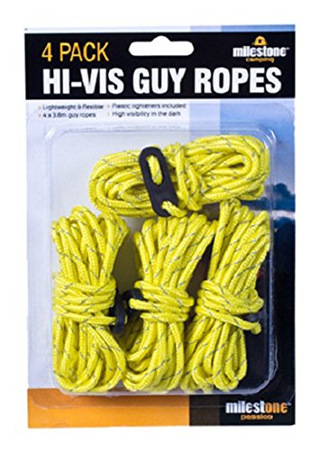 Milestone Camping Camping 20540 Hi-Vis Guy Ropes ~ Pack of 4 ~ Yellow, 4 Pack