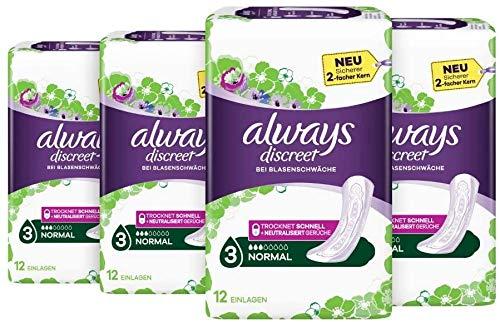 Preisvergleich Produktbild Always Discreet Inkontinenz-Einlagen,  Normal Bei Blasenschwäche,  4er Pack (4 x 12 Stück)