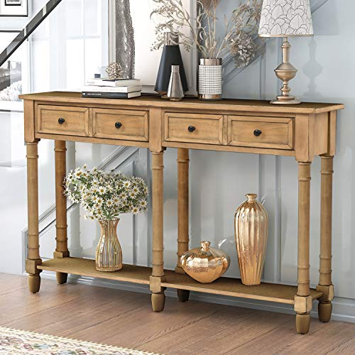 Retro Console Table Sofa Table for Entryway with Drawers and Shelf Living Room Table (Old Pine)