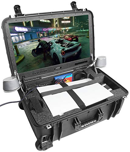 """Case Club Waterproof PlayStation 5 (Disc or Digital) Portable Gaming Station with Built-in 24"""" 1080p Monitor, Cooling Fans, & Speakers. Fits PS5, Controllers, & Games, (PS5 & Accessories NOT Included)"""