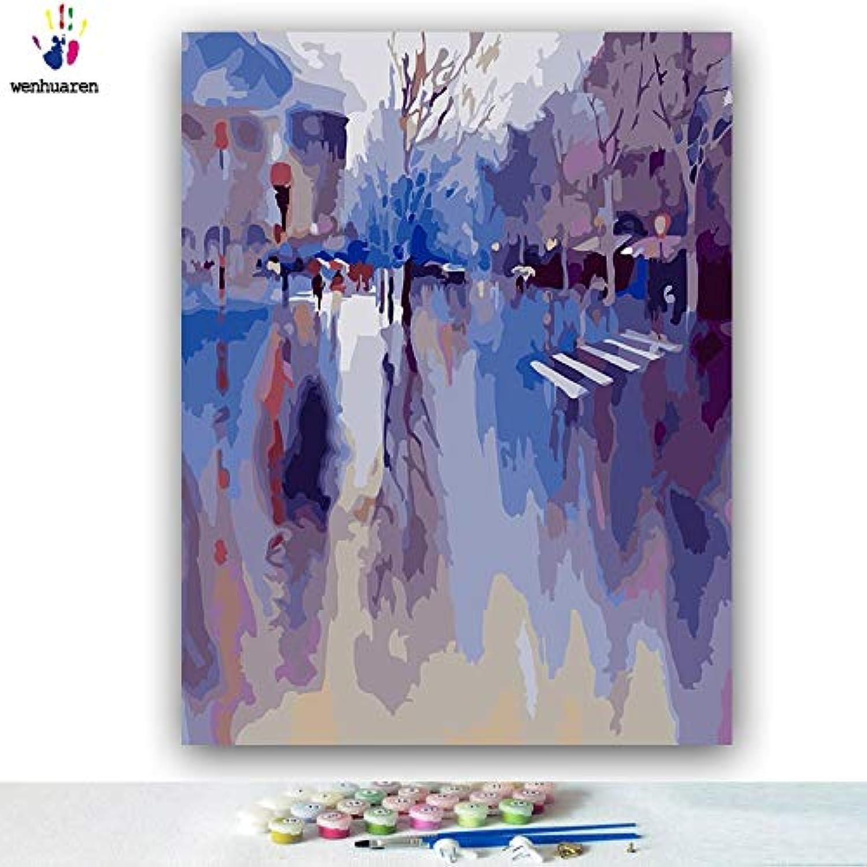 tienda de ventas outlet KYKDY Bricolaje dibujos para para para Colorar imágenes por números con Colors Día nublado gris Impresión bajo la lluvia imagen dibujo pintura por números enmarcados, 50076,70x90 sin marco  ahorra hasta un 50%