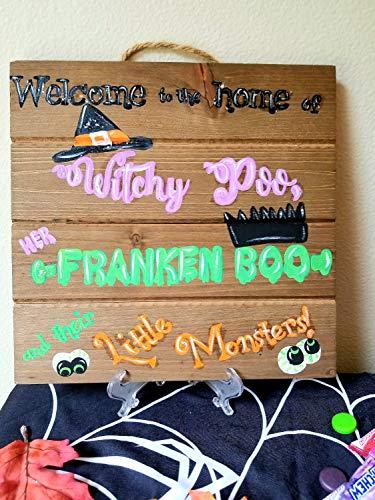 Ced454sy Halloween hand geschilderd heksen poo franken boo kleine monsters decor voor muur deur mantel binnen of buiten groen paars oranje zwart