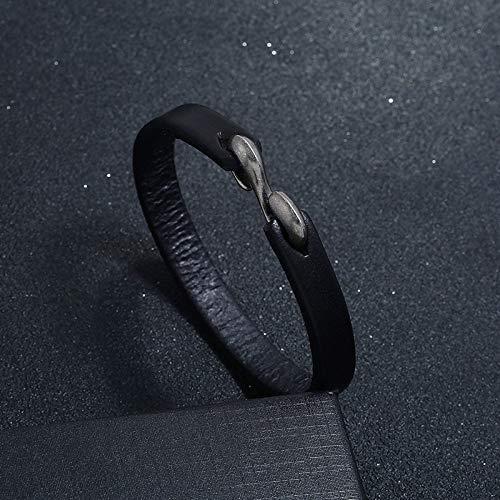 Punk verstelbare armband van leer voor mannen en vrouwen, rok geweven, modieus, retro, creatief, eenvoudig, populair, gothic Zwart