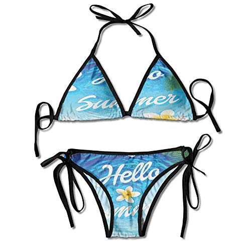 Removable Strap Wrap Bikini,Palm Tree Leaves Plumeria Sexy Bikini 2 Pieces