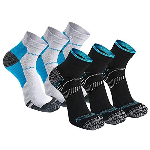 Kuzimua 6 paia di Calze Running Sportive Compressione Leggera Uomo Donne, Calzini Running Sportivi Uomo Donne (3x Nero + 3x Blu, l)