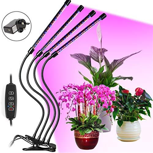Hoofun LED Pflanzenlampe,Grow Light Lampe, 10 Dimmbare Helligkeiten, einstellbar 4 Köpfe Wachtumslampe für Sämlinge und Sukkulenten