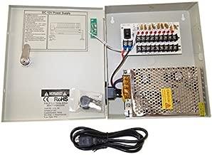 EVERTECH 8 Channel 9 Port Power Box Security Camera 12V DC 5A Ampere CCTV DVR Power Supply Switch Box Key Locked