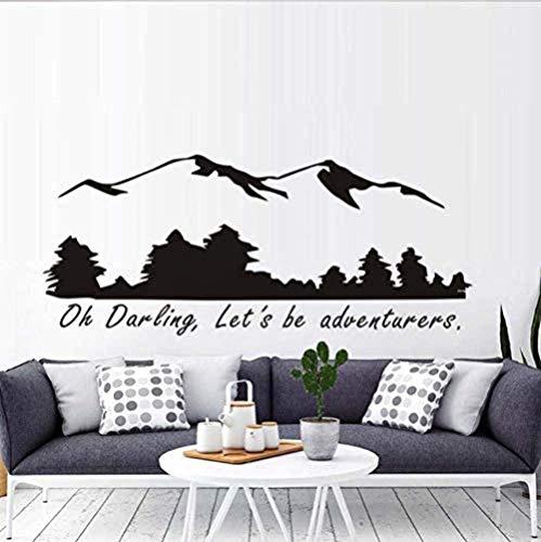 Calcomanías de vinilo para pared decoración de la pared 56X24 cm oh querido seamos aventureros montaña y bosque dormitorio decoración del hogar