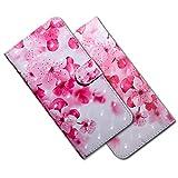 MRSTER Nokia 4.2 Handytasche, Leder Schutzhülle Brieftasche Hülle Flip Hülle 3D Muster Cover mit Kartenfach Magnet Tasche Handyhüllen für Nokia 4.2 (2019). BX 3D - Pink Cherry