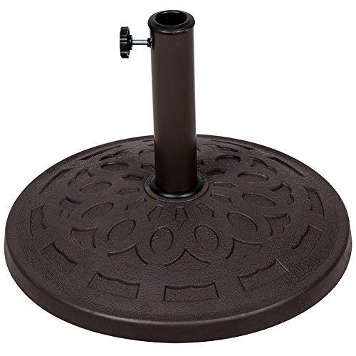 Sundale Outdoor Universal Resin Patio Umbrella Base Metal Heavy Duty Stand, Bronze Finish, 19.4-in Diameter, 31 lbs