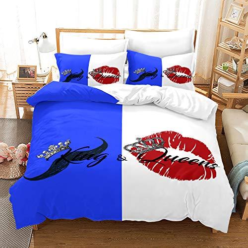 YuanLu Juego de ropa de cama de matrimonio de 3 piezas, juego de funda de edredón para parejas, colcha para adultos (1 funda de edredón y 2 fundas de almohada), color azul y blanco